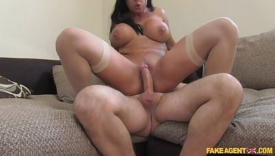Brunette Unleashes Her Massive Tits On Cast Agent's Locate