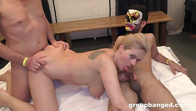 Chubby light-complexioned slut spreads will not hear of legs to disgust fucked by lot of guys