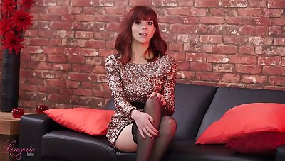 Ardent alone pale nympho in black stockings Eva flashes her small tits