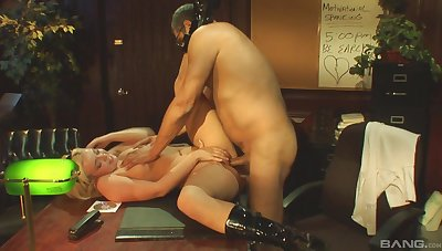 Big ass blonde drives a lot of cock into her wet cunt