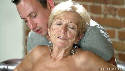 Depreciatory granny Malya has an affair with young dude living nextdoor