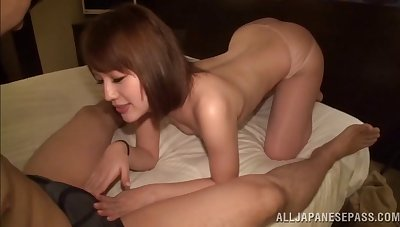 After a blowjob and a titjob hot Asian gets fucked overwrought a dude