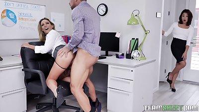 Female boss welcomes the needy secretary for a wild threesome