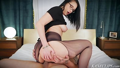 Busty MILF wearing pantyhose rides face and cock