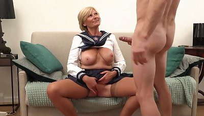 Platinum-Blonde grannie is always willing thither open up her gams broad open and get banged, until she shoots a load