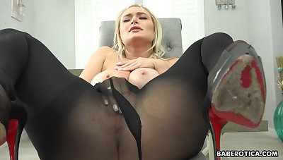Solo blonde girl, Natalia Starr is masturbating, close to 4K