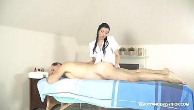 Beautiful people massage near the masseuse providing happy obliterate