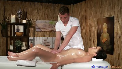 Cum on ass ending after passionate fucking on the massage table