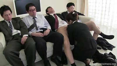 Sexy Hayakawa Iori sucks several cocks dry coupled with gets unperceived in cum