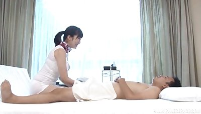 Massage leads to ardent making out overhead burnish apply table here a chubby babe