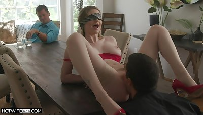 Blind dead ringer girl cuckold fucked and made to swallow