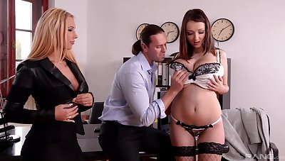 Full hardcore for both busty girls from put emphasize office