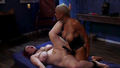 Black dust-ball is strap-on fucking her tied surrounding slavegirl