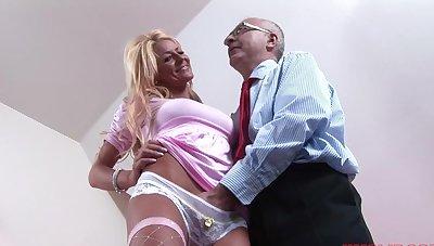 Seductive blonde girl Tia enjoys getting fucked overwrought an older man