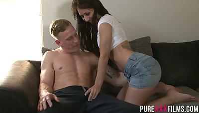 Slutty girlfriend Jess West gets her pussy fucked in front of cuckold boyfriend